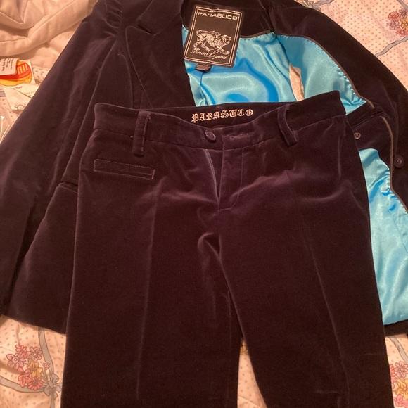 "Parasuco velvet suit, midnight blue XS/28"" waiste"